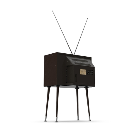 back of leg: Old TV with legs on white background 3D Illustration