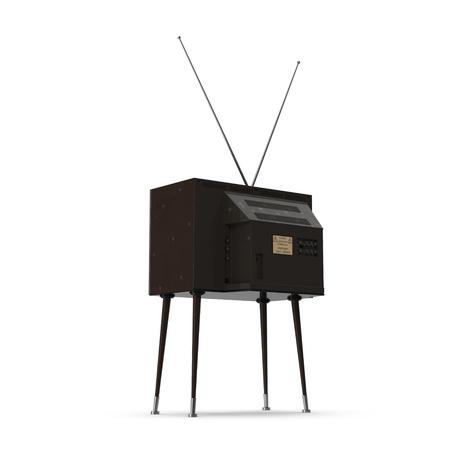 television antigua: TV vieja con las piernas sobre fondo blanco Ilustración 3D
