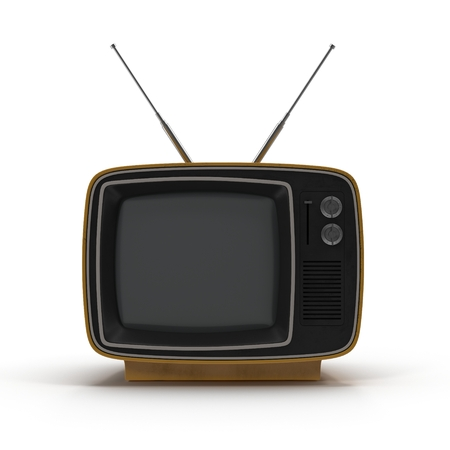 Old TV on white background 3D Illustration