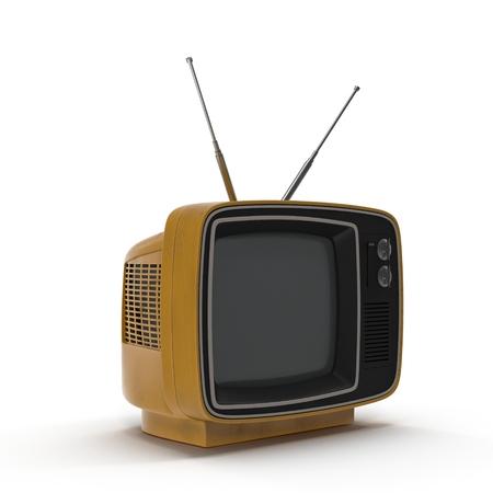 old tv: Old TV on white background 3D Illustration