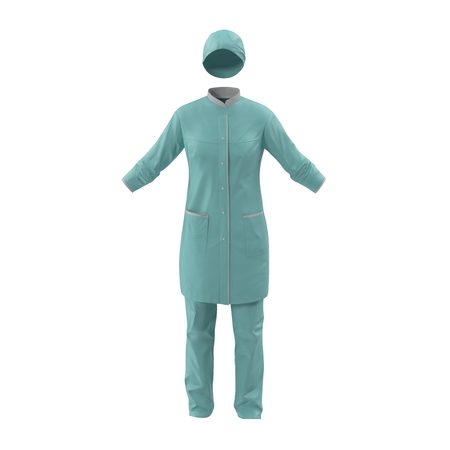 Female Surgeon Dress on White Background 3D Illustration