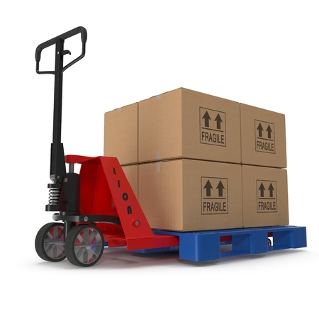 stacker: Fork pallet truck stacker with stack of boxes isolated on white background 3D Illustration