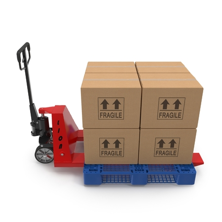 pallet truck: Fork pallet truck stacker with stack of boxes isolated on white background 3D Illustration