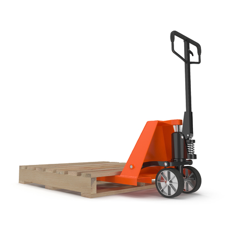 pallet truck: Pallet truck with wooden pallet isolated on white background 3D Illustration Stock Photo