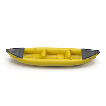 inflatable: Inflatable yellow kayak isolated on white background 3D Illustration Stock Photo