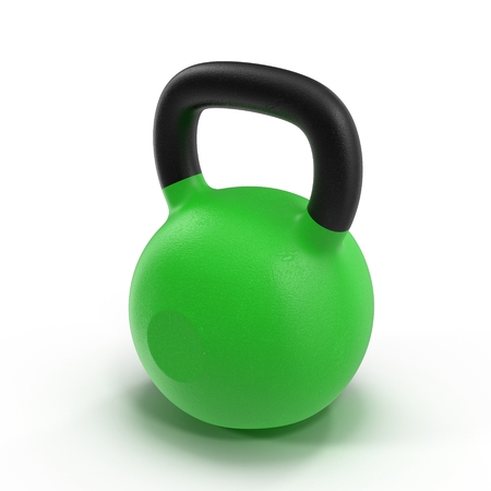 cast iron: Kettlebell isolated on white background 3D Illustration