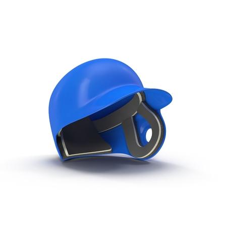 Blue baseball helmet on white background 3D Illustration