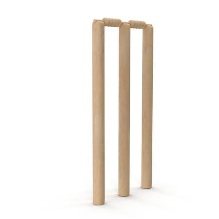 wicket: Cricet wickets 3D illustration isolated on white background