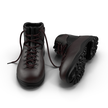 laced: Hiking boots isolated on white background 3D Illustration