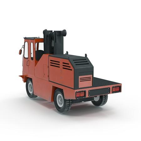 Side Loading Forklift Truck isolated on white background 3D Illustration