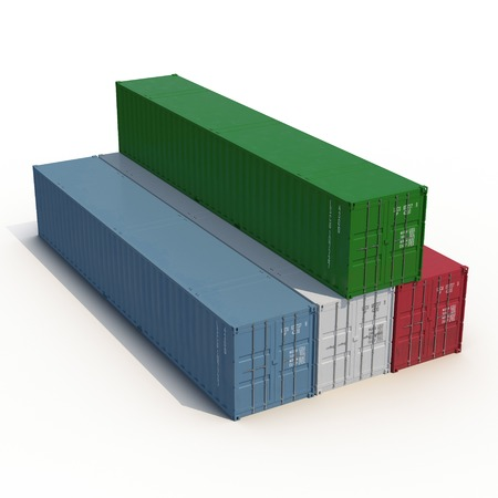 Stacked color cargo containers over white background 3D Illustration