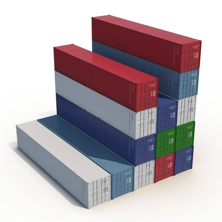 dockyard: Stacked color cargo containers over white background 3D Illustration