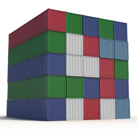 stacked: Stacked color cargo containers over white background 3D Illustration