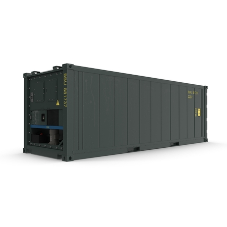 reefer: ISO Refrigerated Container isolated on white background 3D Illustration