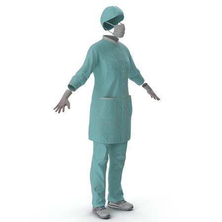 dressing treatment: Female Surgeon Dress isolatedd on white background 3D Illustration
