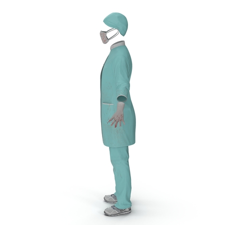 Female Surgeon Dress isolatedd on white background 3D Illustration