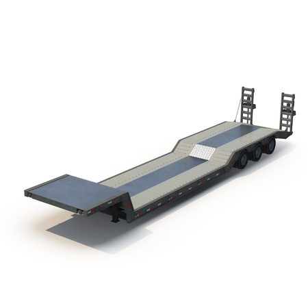 axle: Flat Bed Semi Trailer on white background 3D Illustration