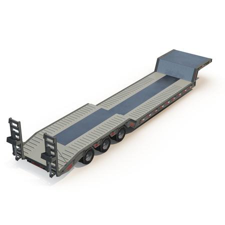 flatbed truck: Flat Bed Semi Trailer on white background 3D Illustration