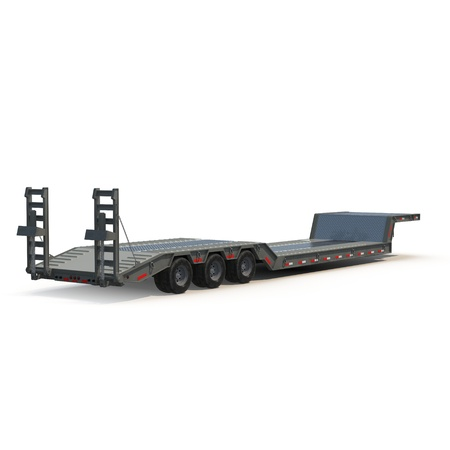 haul: Flat Bed Semi Trailer on white background 3D Illustration