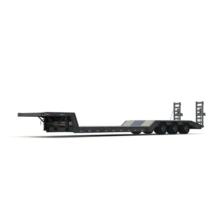 turnpike: Flat Bed Semi Trailer on white background 3D Illustration