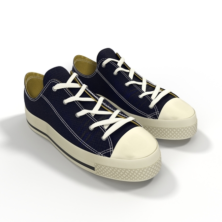 shoelaces: Convenient for sports mens sneakers. Presented on a white background. 3D Illustration Stock Photo