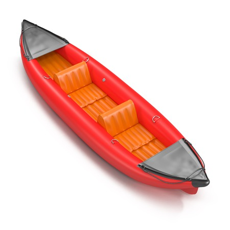 Inflatable red kayak isolated on white background 3D Illustration