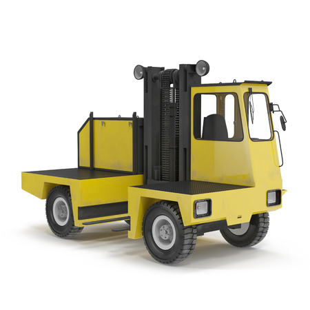 warehousing: Side Loading Yellow Forklift Truck isolated on white background 3D Illustration