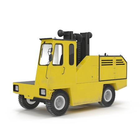 Side Loading Yellow Forklift Truck isolated on white background 3D Illustration
