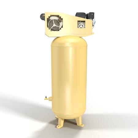 compresor: Compresor de aire de pistón en el fondo blanco Ilustración 3D