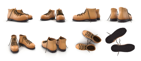 Hiking boots isolated on white background 3D Illustration
