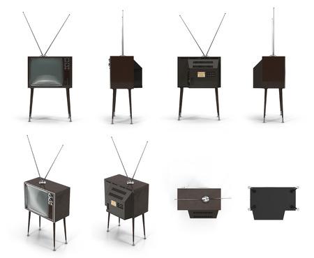 television antigua: TV vieja en el fondo blanco Ilustración 3D