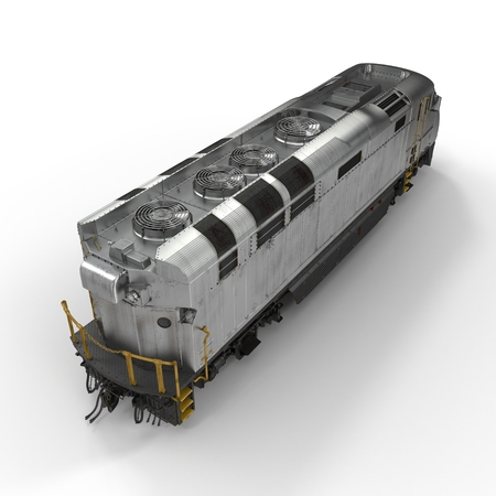 streamlined: Diesel Electric Locomotive isolated on white background 3D Illustration