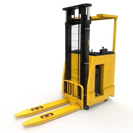 warehousing: Yellow Rider Stacker isolated on white background 3D Illustration Stock Photo