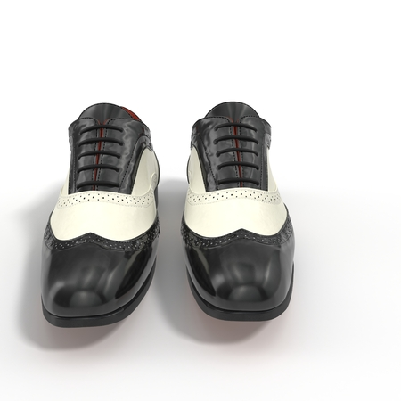 welt: Wingtip shoes black isolated on white background 3D Illustration