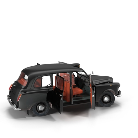 black cab: London cab isolated on white background 3D illustration
