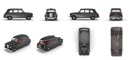 London cab isolated on white background 3D illustration