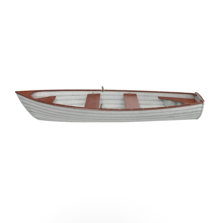 3d boat: Fishing boat Isolated on white background. Side view. 3D illustration Stock Photo