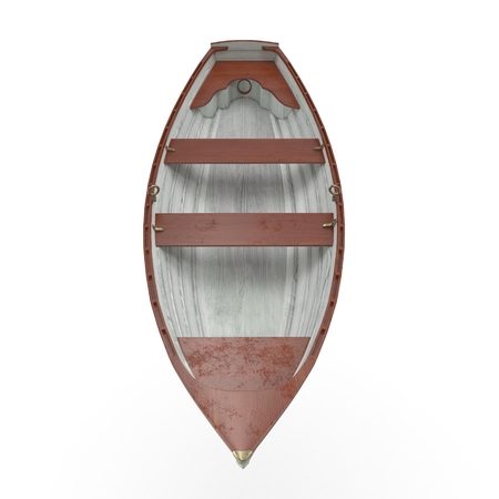 3d boat: Row boat laying in the white background. Front view. 3D illustration