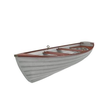 白い背景の上の木製のボートの 3 D イラストレーション。