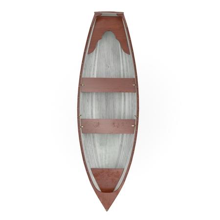 白い背景の木行ボート。平面図です。3 D イラストレーション
