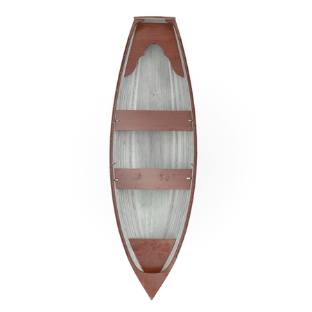 Wooden row boat on white background. Top view. 3D illustration Zdjęcie Seryjne