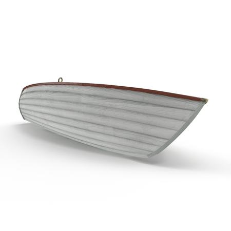 Old row boat isolated on white background. 3D illustration