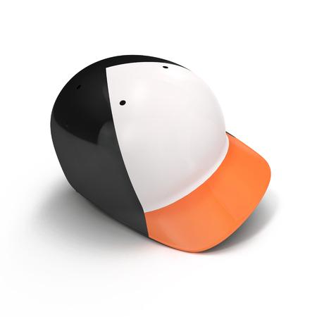 Black baseball helmet on white background. 3D illustration Stock Photo