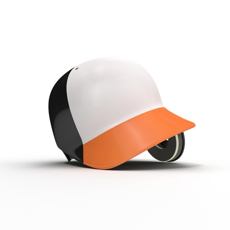 Black batters helmet isolated on white background. 3D illustration Stock Photo