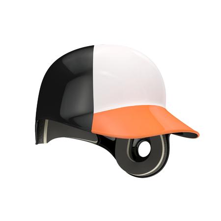 Baseball batting helmet with orange visor on white background. 3D illustration