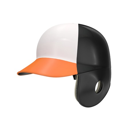 batting: Black and orange color batting helmet isolated on white background. 3D illustration