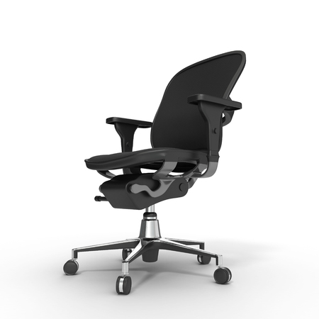 computer chair: Black computer chair isolated on white background. 3D illustration