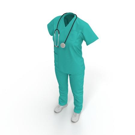 robe de chirurgien avec un stéthoscope isolé sur fond blanc. illustration 3D