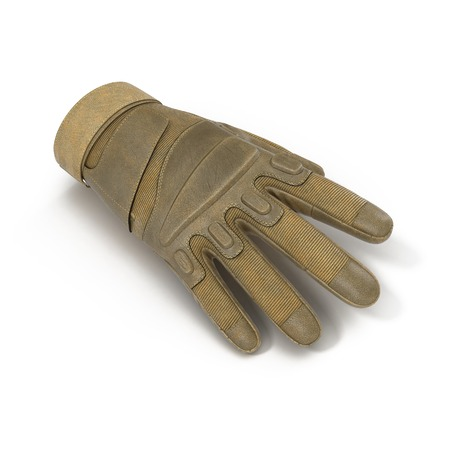 Blackhawk military tactical gloves leather. US Soldier gloves on white background. 3D illustration