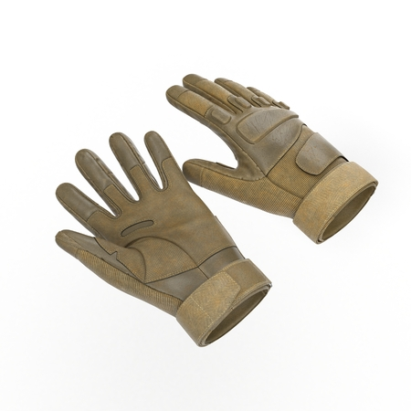 tactical: Tactical military gloves, detail of part of Us soldier uniform. Isolated on white background. 3D illustration Stock Photo